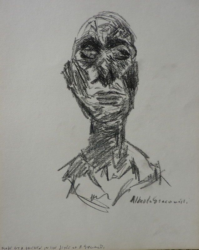 Portrait in dark pencil on card drawings driessen art