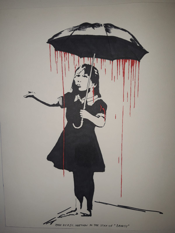 Girl with Umbrella. (Style of Banksy)